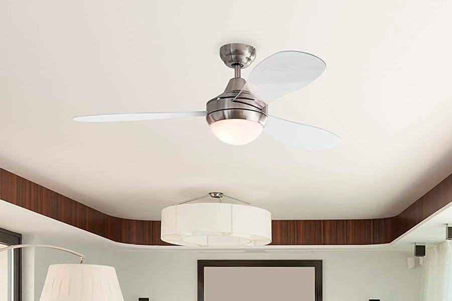 Ventilador de Techo con Aspas Transparentes y Luz Led