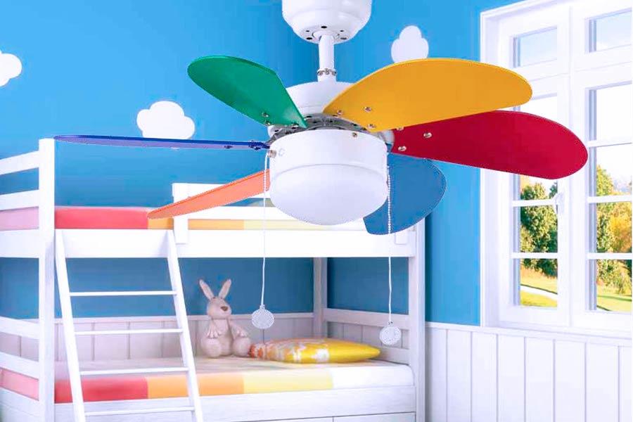 Barato Ventilador de Techo Infantil con Aspas de Colores